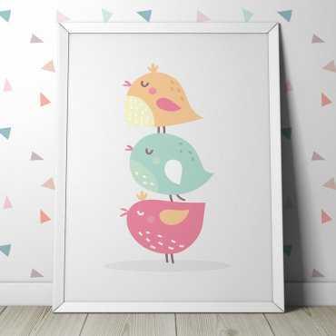 PASTELOWE PTASZKI - Plakat dla dzieci