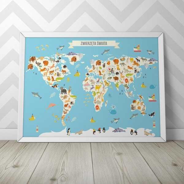 Mapa Zwierząt świata Plakat Dla Dzieci