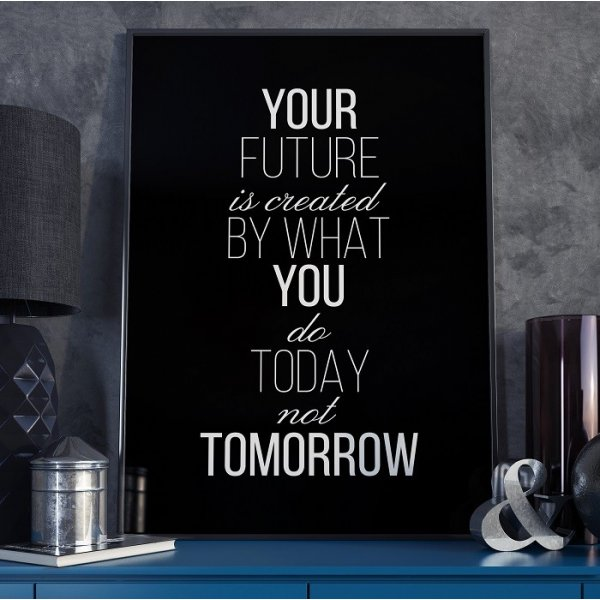 YOUR FUTURE IS CREATED BY - Plakat typograficzny