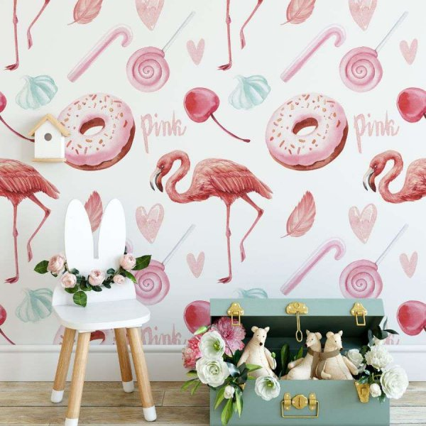 tapeta flamingo sweets