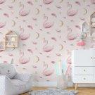 tapeta pink swans