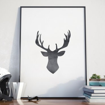 DEER HEAD - Plakat w ramie