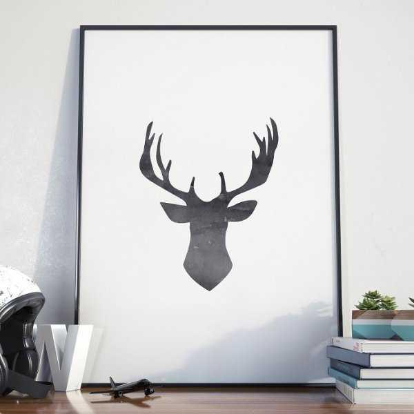 Deer Head Plakat W Ramie