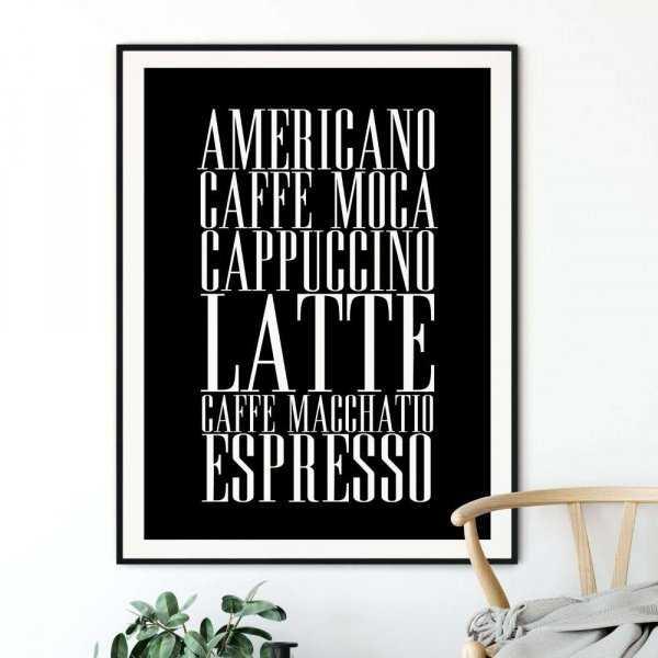 coffee types plakat