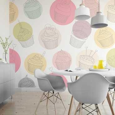 Kolorowe Muffinki - Tapeta designerska
