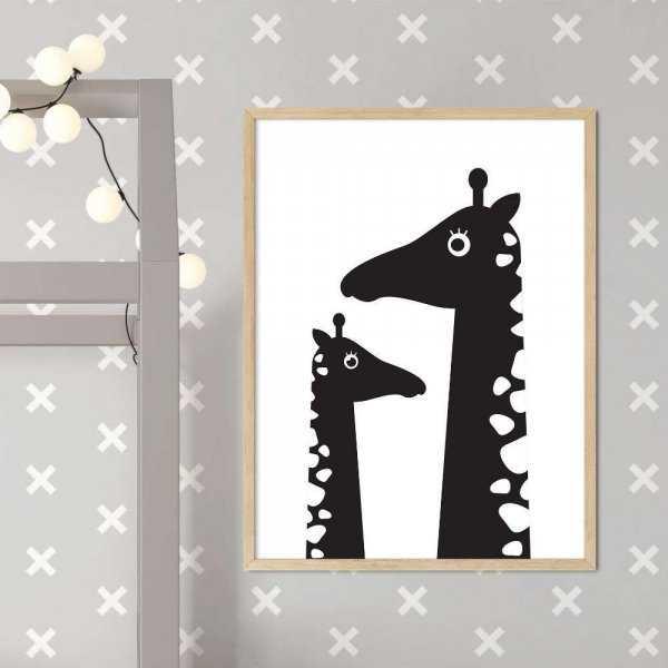 plakat giraffe family