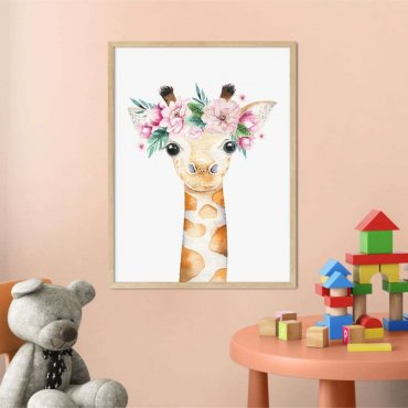 plakat giraffe flowers