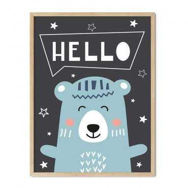 plakat happy hello bear