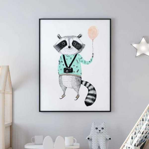 plakat hipsta raccoon