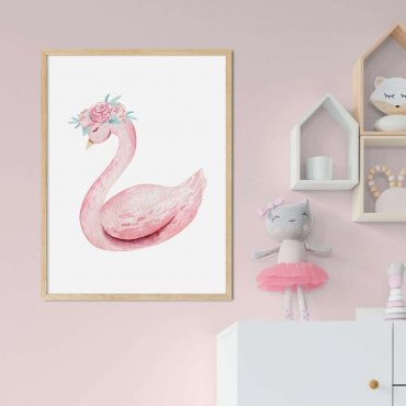 plakat pink swan