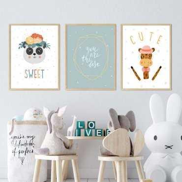 zestaw plakatów best cute sweet