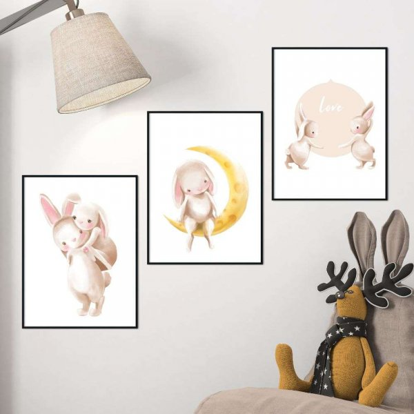 zestaw plakatów bunny love