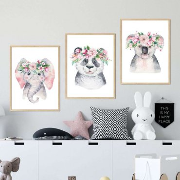 zestaw plakatów flower friends
