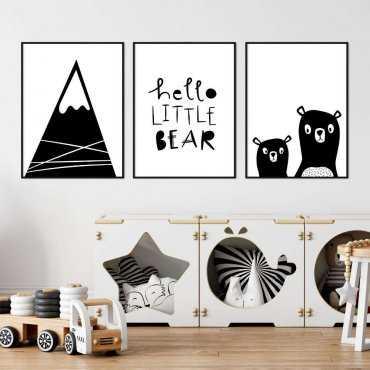 zestaw plakatów hello little bear