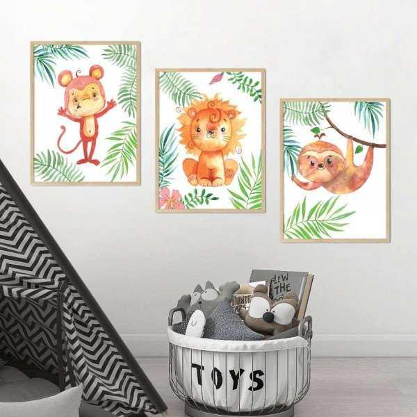 zestaw plakatów jungle trio