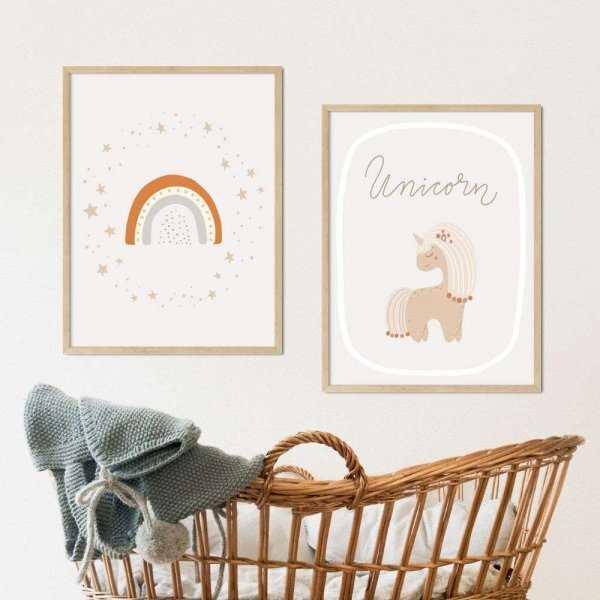 zestaw plakatów unicorn rainbow