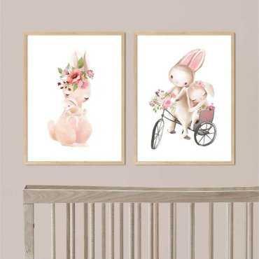 zestaw plakatów rabbit family