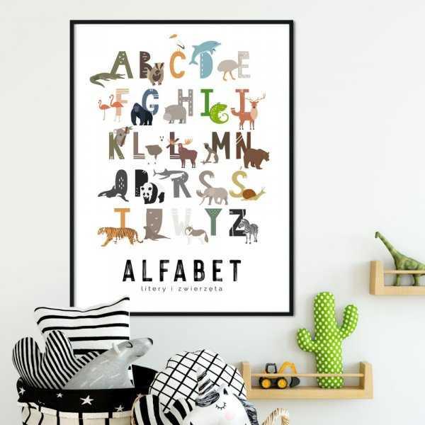 plakat alfabet zwierzęta