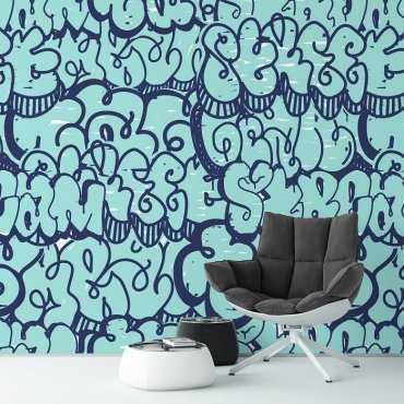 BLUE GRAFFITI - Tapeta ścienna