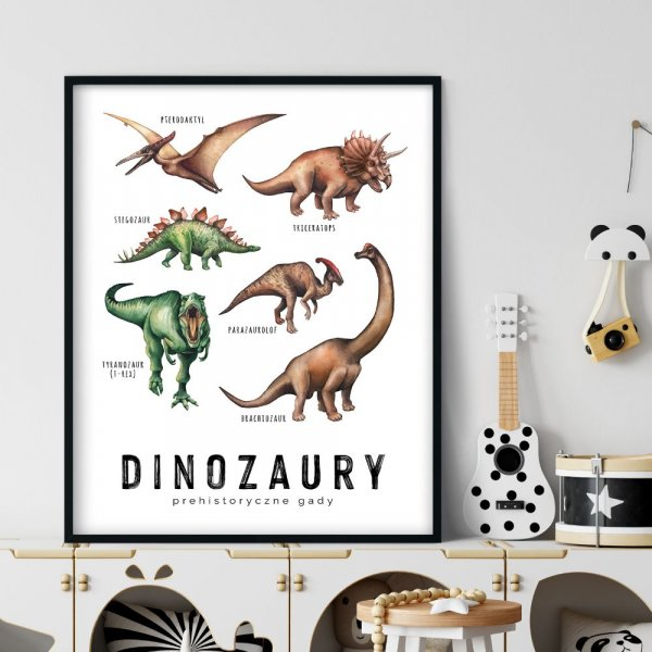 plakat edukacyjny z dinozaurami