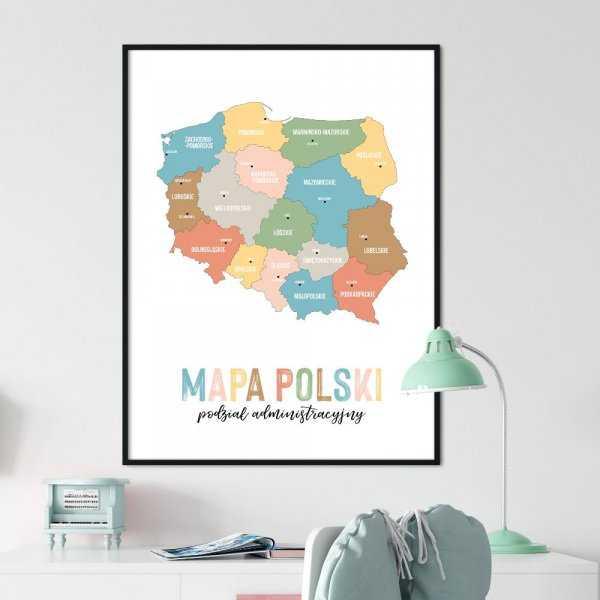 plakat mapa polski