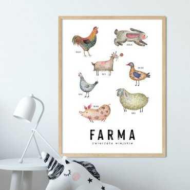 plakat edukacyjny z farmą