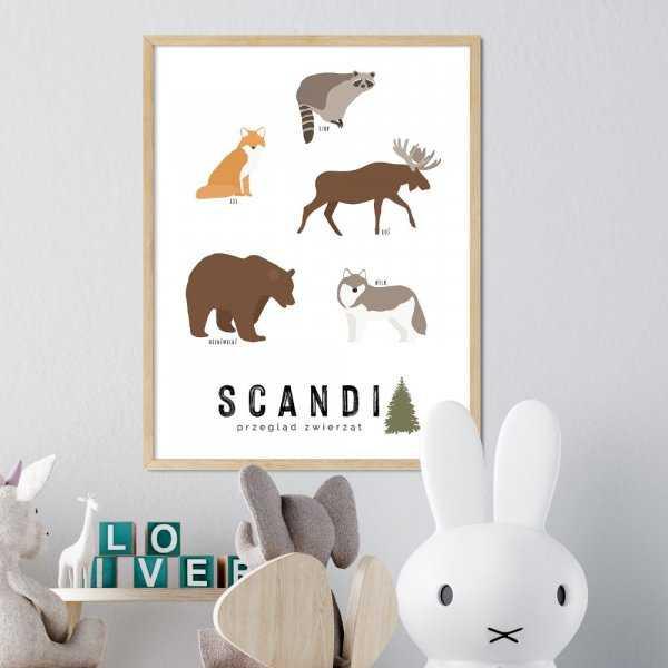 plakat ze zwierzętami scandi