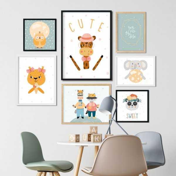 cute friends zestaw plakatów