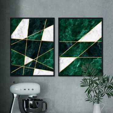 zestaw plakatów marble greenery
