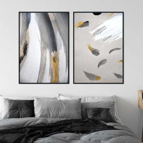 zestaw plakatów painty feathers