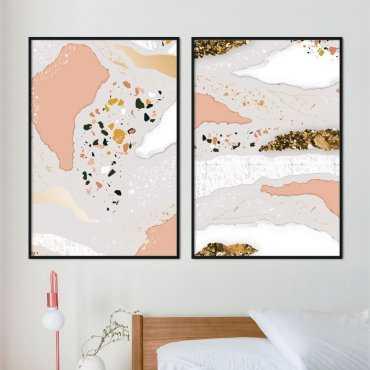 zestaw plakatów terrazzo art