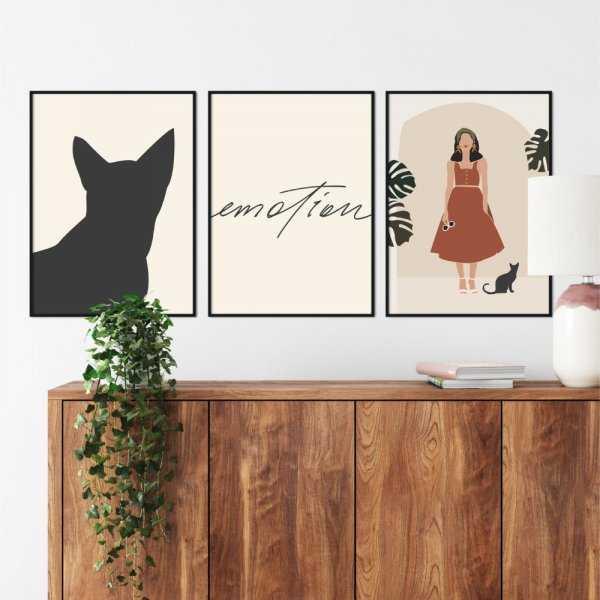 zestaw plakatów cat emotion