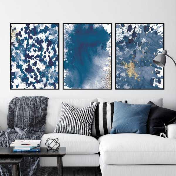 zestaw plakatów navy blue splash