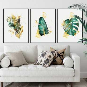 zestaw plakatów tropical gold