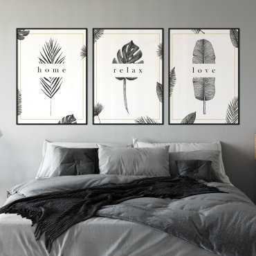 zestaw plakatów home relax love