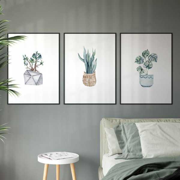 zestaw plakatów pot of plants